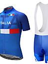21Grams Italien Landsflagga Herr Kortärmad Cykeltröja med Haklapp-shorts - Blå / Vit Cykel Träningsdräkter Andningsfunktion Fuktabsorberande Snabb tork sporter Terylen Polyester Taffeta Bergscykling