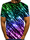 Men\'s T shirt Abstract Print Short Sleeve Daily Wear Tops Streetwear Exaggerated Black