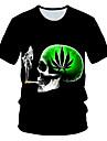 Ανδρικά Μπλουζάκι Γραφική 3D Νεκροκεφαλές Στάμπα Κοντομάνικο Καθημερινά Ρούχα Άριστος Κομψό στυλ street Εξωγκωμένος Στρογγυλή Λαιμόκοψη Μαύρο / Κλαμπ