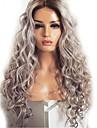 Syntetiska peruker Kroppsvågor Kardashian Middle Part Peruk Väldigt länge Grå Syntetiskt hår 60~65 tum Dam Ny ankomst Mörkgrå