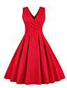 Women\'s A Line Dress Midi Dress Royal Blue Red Sleeveless Solid Color Pleated Bow Spring Summer V Neck 1950s Hot Vintage Going out Belt Not Included Slim 2021 S M L XL XXL 3XL