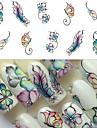 1 pcs Vattenöverföringsklistermärke Fjäril nagel konst manikyr Pedikyr Universell Stilig Dagligen
