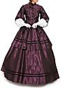 Hertiginna Victoriansk Balklänning 1910s Edwardian Klänningar Festklädsel Dam Cotton Kostym Purpur Vintage Cosplay Maskerad Golvlång Lång längd Balklänning Plusstorlekar