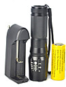 LED-Ficklampor Zoombar 5000 lm LED LED utsläpps 5 Belysning läge med batteri och laddare Zoombar Justerbar fokus Bimbar Camping / Vandring / Grottkrypning Cykling Resa Svart