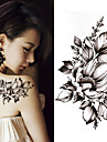 3 st svart stor blomma kroppskonst vattentät tillfällig sexig lår tatueringar steg för kvinna flash tatuering klistermärken