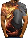 Homens Camiseta Camisa Social Grafico Labareda Estampado Manga Curta Casual Blusas Moda de Rua Exagerado Decote Redondo Cinzento / Verao