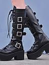 Dam Skor Boots Punk Kilklack Skor Enfärgad 8 cm Svart PU-läder / Polyuretan Läder Halloween kostymer
