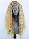 Syntetiska snörning framifrån Vågigt Sidodel Spetsfront Peruk Blond Lång Blond Syntetiskt hår 22-26 tum Dam Justerbar Värmetåligt Party Blond