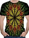 Men\'s Daily Wear Street Basic / Punk & Gothic EU / US Size T-shirt - Color Block / 3D / Graphic Print Round Neck Green / Short Sleeve