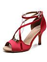 Mulheres Sapatos de Danca Latina Danca de Salao Sapatos de Salsa Line Dance Salto Presilha Salto Alto Magro Preto Azul Vermelho Escuro Correia Cruzada