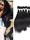6 paket Peruanskt hår Silky rakt 10A Obehandlad hår Human Hår vävar 8-30 tum Kastanjebrun Natur Svart Nyans Hårförlängning av äkta hår Luktfri Människohår förlängningar Dam