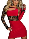 Women\'s Street chic Elegant Bodycon Dress - Solid Colored Lace Patchwork Black Red M L XXL
