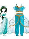 Princess Jasmine Klänningar Cosplay Kostymer / Dräkter Barn Flickor Halloween Jul Halloween Karnival Festival / högtid Tyll Polyster Ljusblå / Grön Karnival Kostymer Prinsessa / Topp
