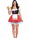 Oktoberfest Dirndl Trachtenkleider Dam Klänning Bavarian Kostym Rubinrött