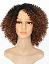 Syntetiska peruker Afro Kinky Med lugg Peruk Korta Mörkblond Syntetiskt hår 15 tum Dam Afro-amerikansk peruk Till färgade kvinnor Mörkbrun Guld Blond Ombre