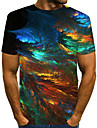 Men\'s T shirt Graphic Abstract Print Short Sleeve Casual Tops Streetwear Exaggerated Round Neck Green / Summer