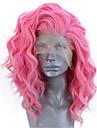 Syntetiska snörning framifrån Vågigt Sidodel Spetsfront Peruk Korta Rosa Syntetiskt hår 12-14 tum Dam Justerbar Värmetåligt Party Ros rosa