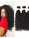 3 paket Brasilianskt hår Kinky Curly Remy-hår Human Hår vävar 8-28 tum Hårförlängning av äkta hår Människohår förlängningar / 10A / Sexigt Lockigt