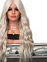 Syntetiska snörning framifrån Vågigt Middle Part Spetsfront Peruk Blond Lång Platina Blont Syntetiskt hår 18-26 tum Dam Justerbar Värmetåligt Party Blond