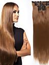 Hårvård Kostymaccessoarer Förlängare Rak Matt Remy-hår Syntetiskt hår 24 inch HÅRFÖRLÄNGNING Klämma in Klämma In / På tupén Mörkbrun Ljusbrunt 6pcs / Lot Dam syntetisk Enkel på- och avklädning Dam