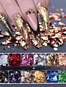 12 galler nagelsekvenser paillette aluminium oregelbundna flingor guld silver pigment nagel konst dekoration spegel glitter folie papper