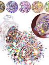 1box spik glitter flingor blandade hexagon runda symfoni sequins pigment holografiska nagellak pulver damm diy manikyr dekorationer
