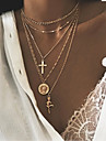 Women\'s Layered Necklace Cross Trendy Ethnic Chrome Gold Silver 52 cm Necklace Jewelry 1pc For Street Club