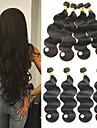 4 paket Brasilianskt hår Kroppsvågor Obehandlad hår Human Hår vävar 8-26 tum Natur Svart Nyans Hårförlängning av äkta hår Luktfri Silkig Människohår förlängningar