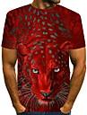 Men\'s T shirt Shirt 3D Print Graphic Tiger Animal Print Short Sleeve Daily Wear Tops Streetwear Round Neck Purple Red Yellow / Club