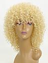 Syntetiska peruker Afro Kinky Med lugg Peruk Guld Korta Ljusguldig Syntetiskt hår 15 tum Dam Afro-amerikansk peruk Till färgade kvinnor Guld