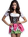 Oktoberfest Dirndl Trachtenkleider Dam Klänning Bavarian Kostym Rodnande Rosa