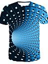 Men\'s Daily Wear Bar Street chic / Punk & Gothic T-shirt - Striped / Color Block Print Round Neck Blue / Short Sleeve