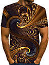 Men\'s T shirt Shirt Graphic Abstract Print Short Sleeve Street Tops Streetwear Exaggerated Round Neck Brown / Summer / Club