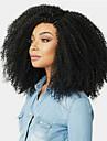Äkta hår Hel-spets Peruk Sidodel Gratis del stil Brasilianskt hår Afro Kinky Svart Peruk 130% Hårtäthet Dam Dam Lång Äkta peruker med hätta Clytie