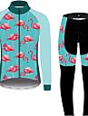 21Grams Flamingo Blommig Botanisk Herr Långärmad Cykeltröja och tights - Svart / Blå Cykel Träningsdräkter Vindtät UV-resistent Andningsfunktion sporter Vinter 100% Polyester Bergscykling Kläder