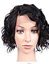 Remy-hår Spetsfront Peruk Sidodel stil Brasilianskt hår Löst vågigt Svart Peruk 130% Hårtäthet Dam Korta Äkta peruker med hätta beikashang