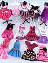 Dollklänning För Barbie Rosa Polyester Klänning För Flicka Dockleksak
