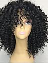 Remy-hår Spetsfront Peruk stil Brasilianskt hår Deep Curly Svart Peruk 130% Hårtäthet Dam Korta Äkta peruker med hätta beikashang