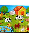 16Pcs/Lot Trä pussel Pedagogiska leksaker (slumpvis färg)