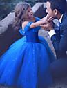 Prinsessa Cinderella Klänningar Barn Flickor Jul Halloween Karnival Festival / högtid Organza Cotton Mörkblå Karnival Kostymer Kristallyta