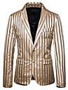 男性用 ブレザー ブレザー スリム ポリエステル 男性用 スーツ ゴールド / ホワイト / ライトグレー - Vネック