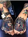 5 st vattentät tillfällig tatoo klistermärke handmålad cool mörk skalle ansikte brev vattenöverföring falska tatoo flash tatto för män kvinnor
