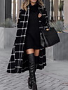 Women\'s Daily Fall & Winter Long Coat, Plaid Rolled collar Long Sleeve Polyester Black
