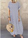 Women\'s Swing Dress Midi Dress Blue White Black Short Sleeve Polka Dot Pocket Patchwork Print Summer Round Neck Casual 2021 M L XL XXL 3XL 4XL 5XL