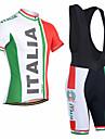 21Grams Herr Kortärmad Cykeltröja med Haklapp-shorts Röd och vit Italien Landsflagga Cykel Träningsdräkter Andningsfunktion Fuktabsorberande Snabb tork Anatomisk design sporter Italien Bergscykling