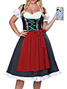Karnival Oktoberfest Dirndl Trachtenkleider Dam Klänning Förkläde Bavarian Kostym Rubinrött