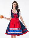 Karnival Oktoberfest Dirndl Trachtenkleider Dam Topp Klänning Förkläde Bavarian Kostym Rubinrött