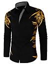 Men\'s Shirt Geometric Long Sleeve Street Tops Boho White Black Red