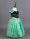 Prinsessa Sagolikt Cosplay Kostymer / Dräkter Flickor Film-cosplay Ljusblå / Purpur / Grön Klänning Pannband Halloween Nyår Chiffong Cotton