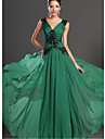 A-Line Plunging Neck Floor Length Cotton Beautiful Back / Elegant Formal Evening Dress 2020 with Crystals